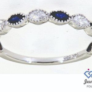 Blue Sapphire Diamond Marquise Band 14K White Gold